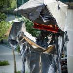 Close-Up des Kohle Kostüms