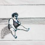 gesticktes Bild einer Frau am Strand mit einem Handy. Das Handy besteht aus einer ultrahellen LED und wurde mit E-Textiles genäht.