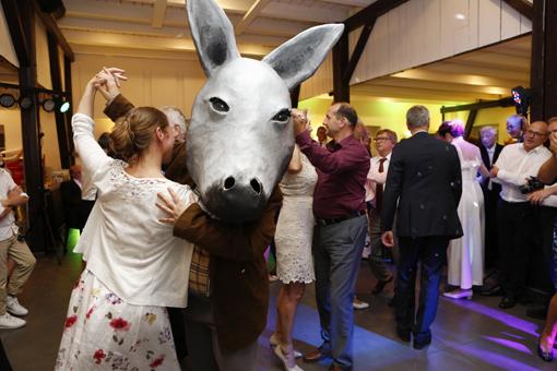 Das Bild zeigt einen als Esel verkleideten Maskenspieler beim Tanz.
