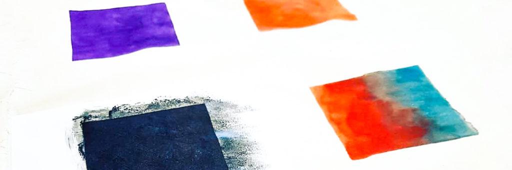 E-Textiles im Figurenbau: vier Felder bedruckt mit thermochromen Farben